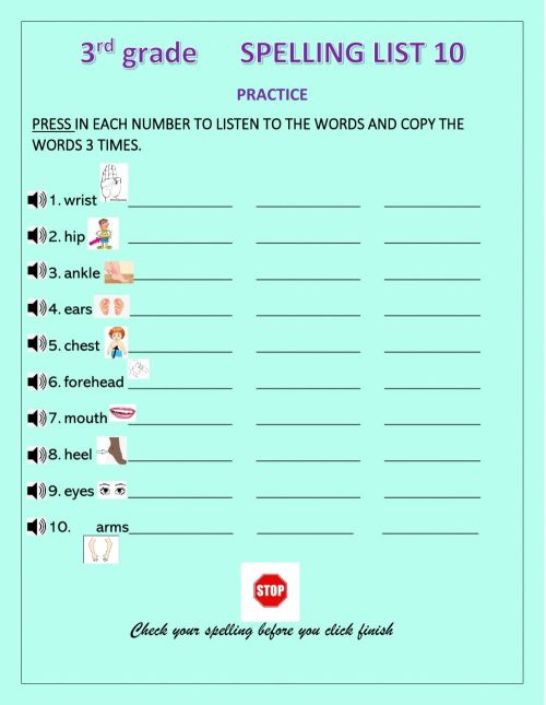 small resolution of Spelling practice online exercise for 3rd Grade