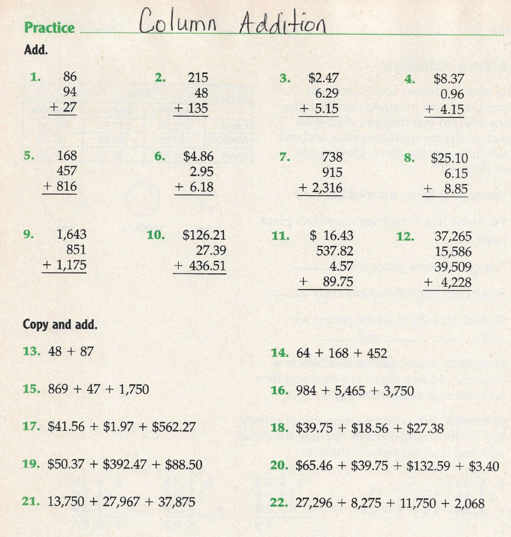 hight resolution of Column Addition grade 4 worksheet