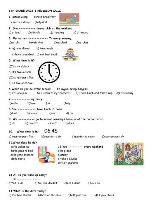 small resolution of 6th Grade Unit 1 Revision Quiz worksheet