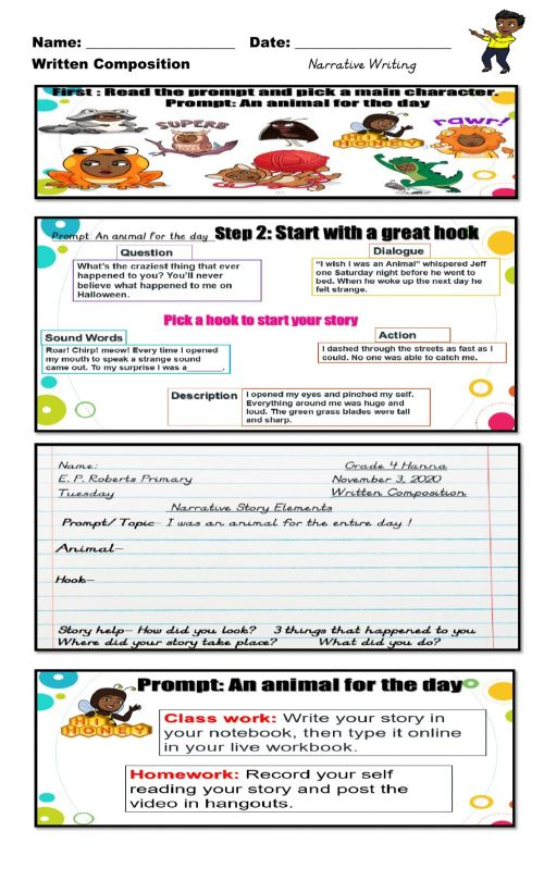 small resolution of Narrative Writing: You are an animal for the Day worksheet