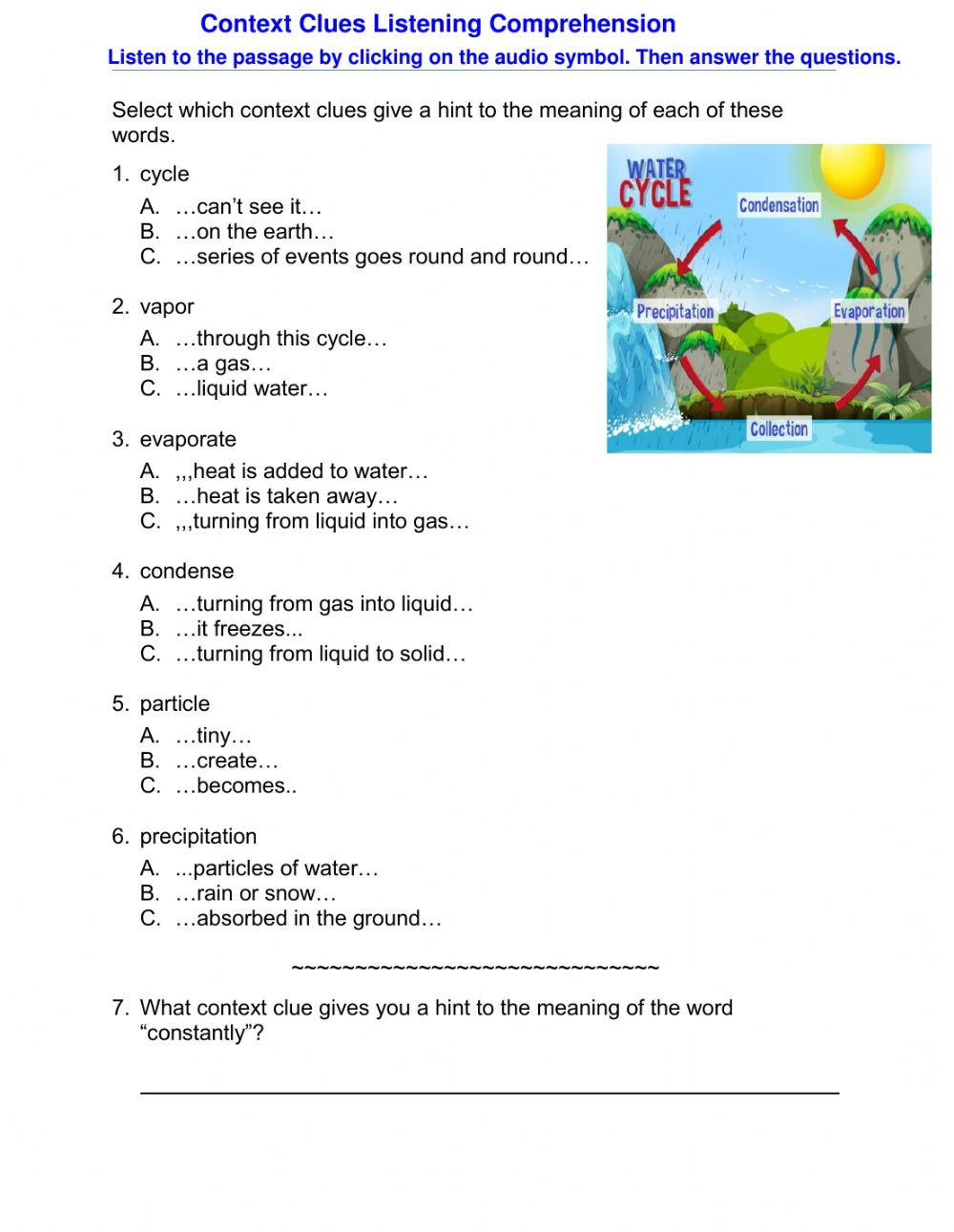 medium resolution of Context Clues Listening Comprehension worksheet