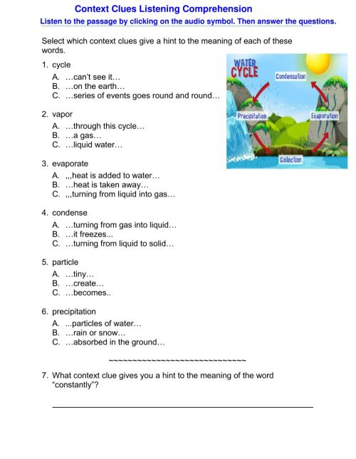 small resolution of Context Clues Listening Comprehension worksheet