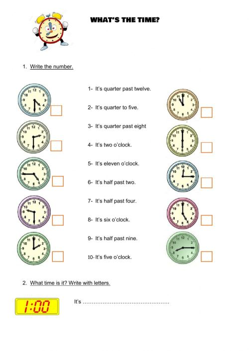 small resolution of The time worksheet for 4th grade