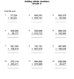 Adding whole numbers grade 6 worksheet [ 1291 x 1000 Pixel ]