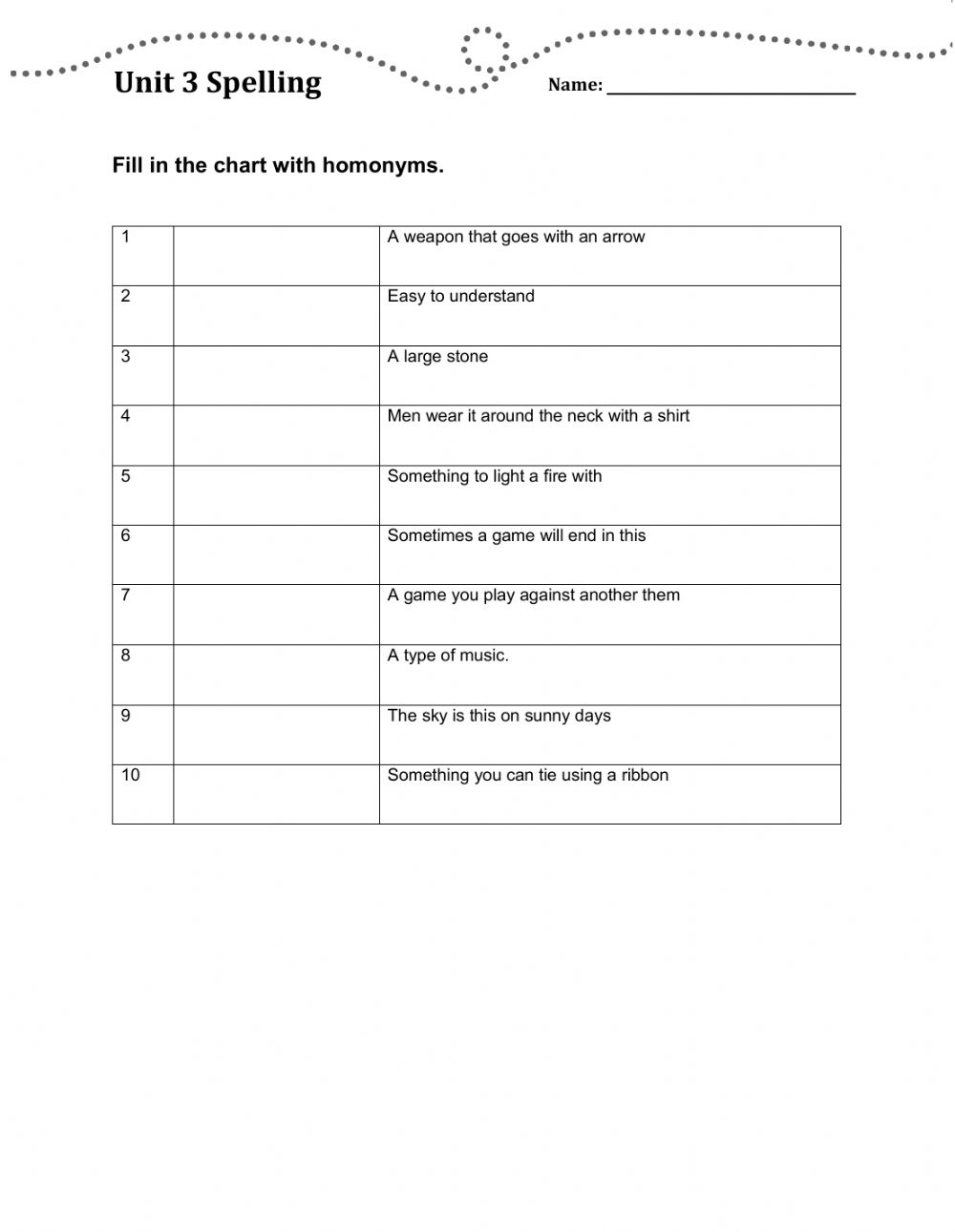medium resolution of Oxford Discover 6 Unit 3 spelling test worksheet