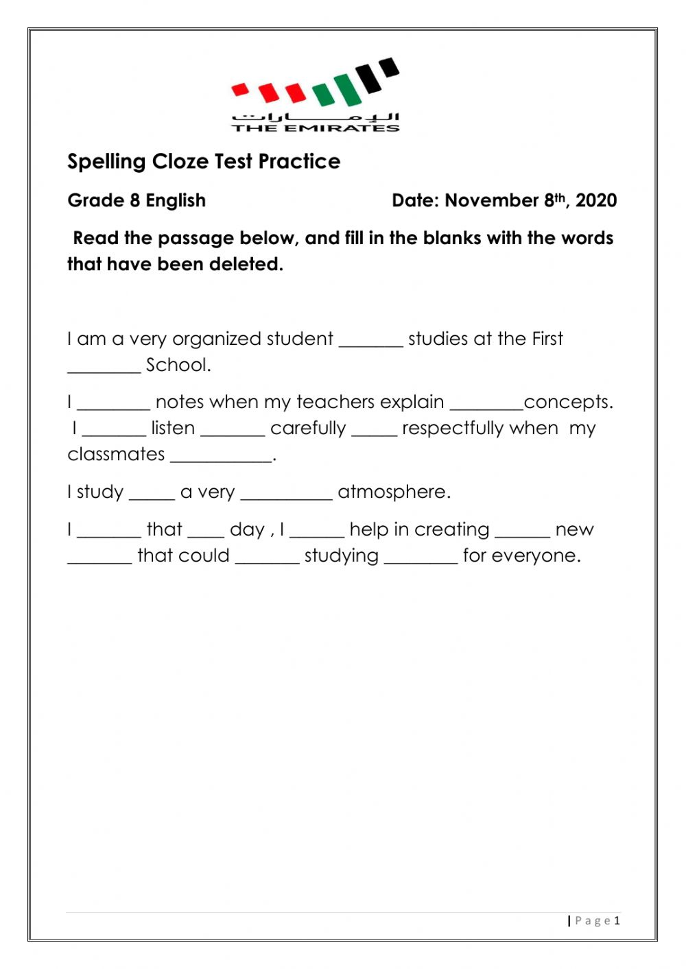 hight resolution of Spelling cloze test practice worksheet