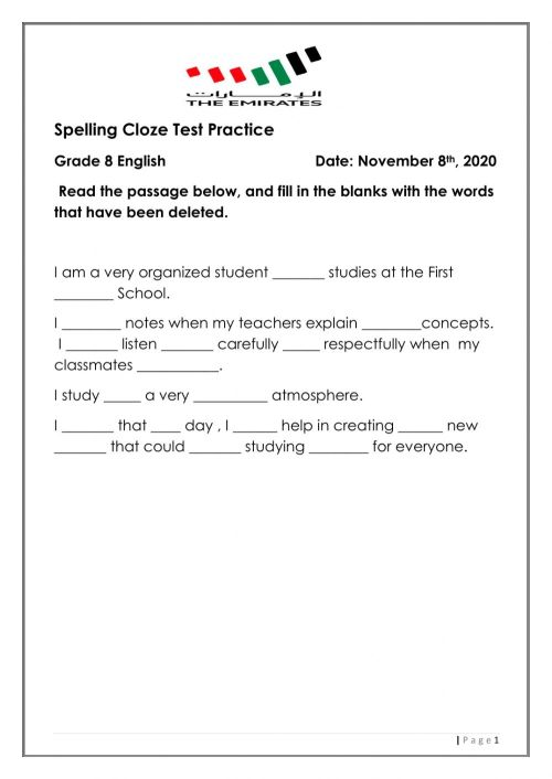 small resolution of Spelling cloze test practice worksheet