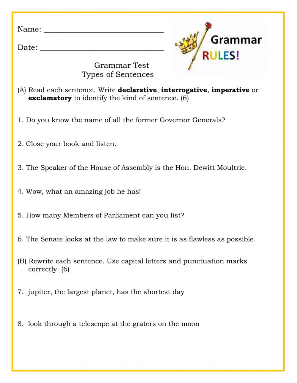 hight resolution of Types of Sentences Test worksheet