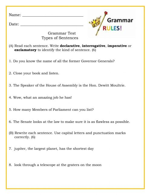 small resolution of Types of Sentences Test worksheet