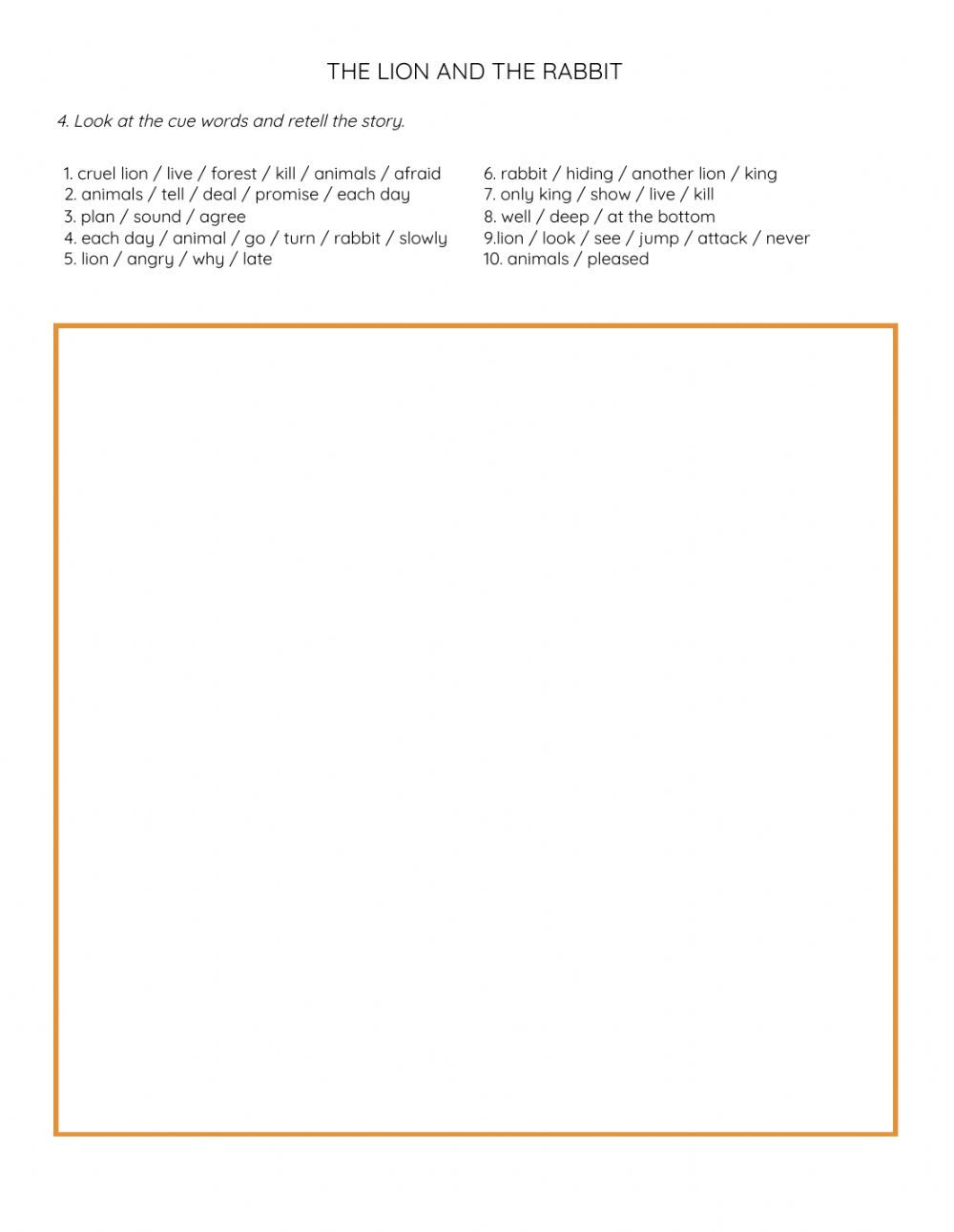 hight resolution of The Lion and Rabbit Retell worksheet