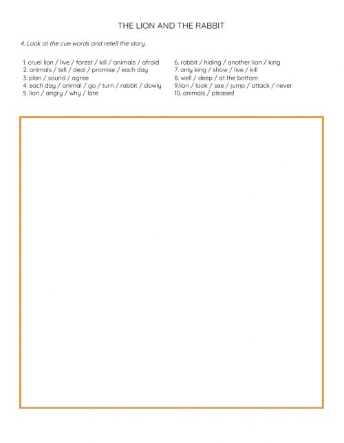 small resolution of The Lion and Rabbit Retell worksheet