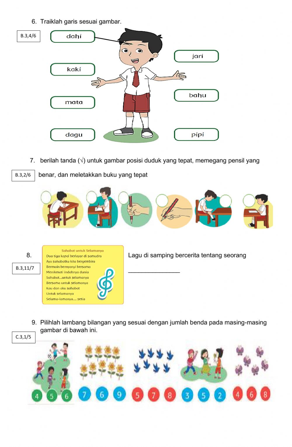 Benda Dari A : benda, Worksheet