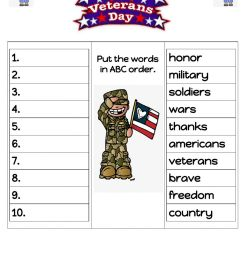 Veterans Day ABC order worksheet [ 1291 x 1000 Pixel ]