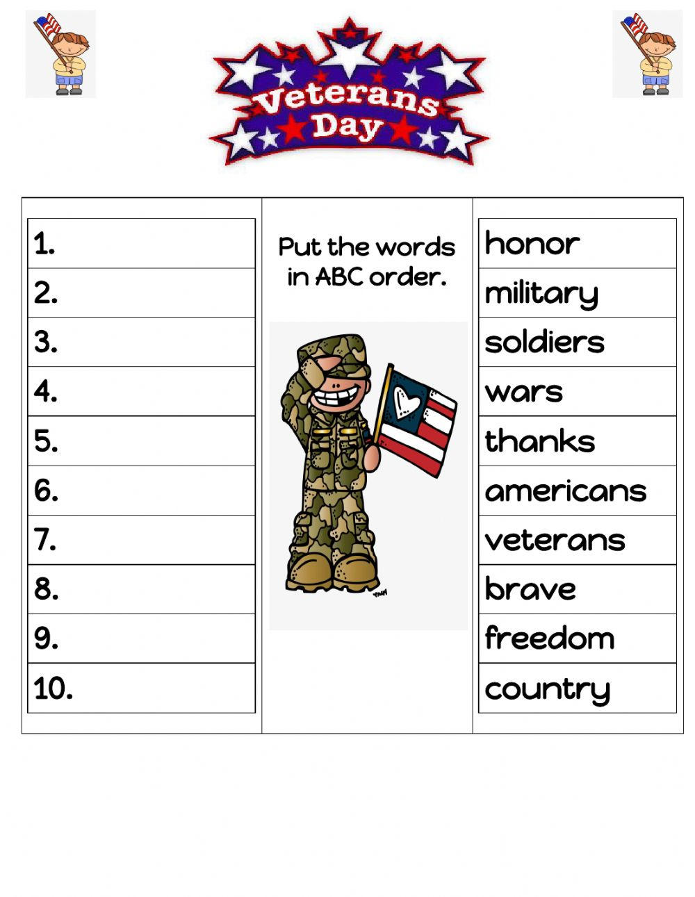 hight resolution of Veterans Day ABC order worksheet
