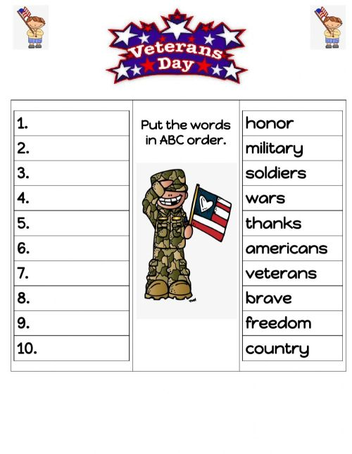small resolution of Veterans Day ABC order worksheet
