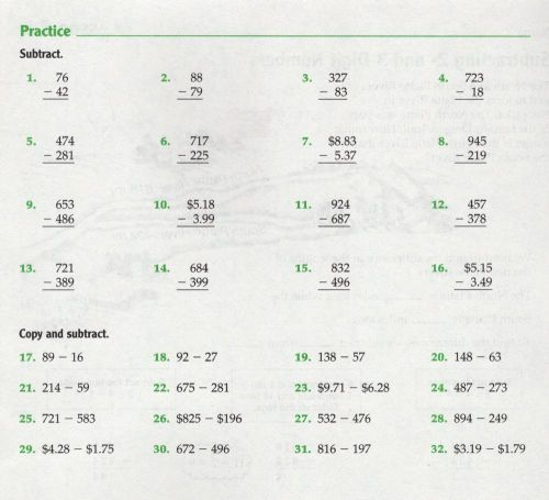 small resolution of Subtracting 2 and 3 digit grade 5 worksheet