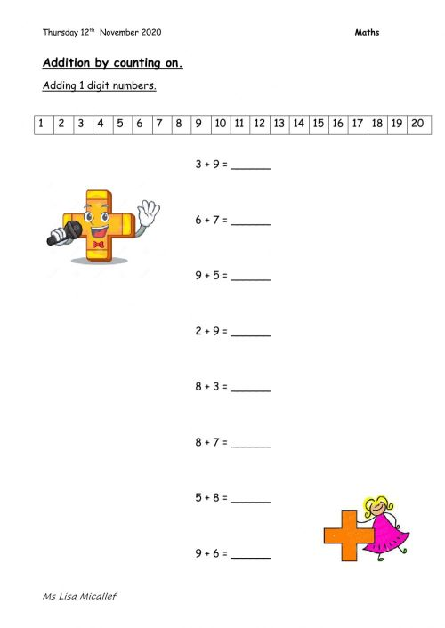 small resolution of Addition worksheet for Grade 3