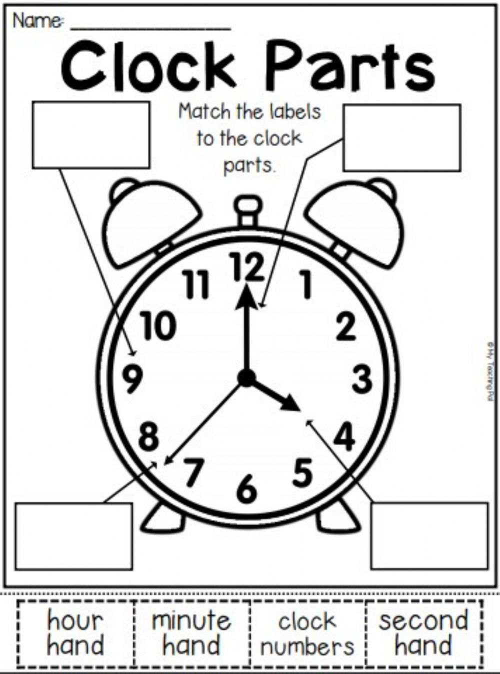 medium resolution of Clock Parts worksheet