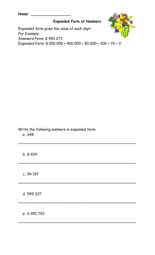 small resolution of Expanded Form online worksheet for Grade 4