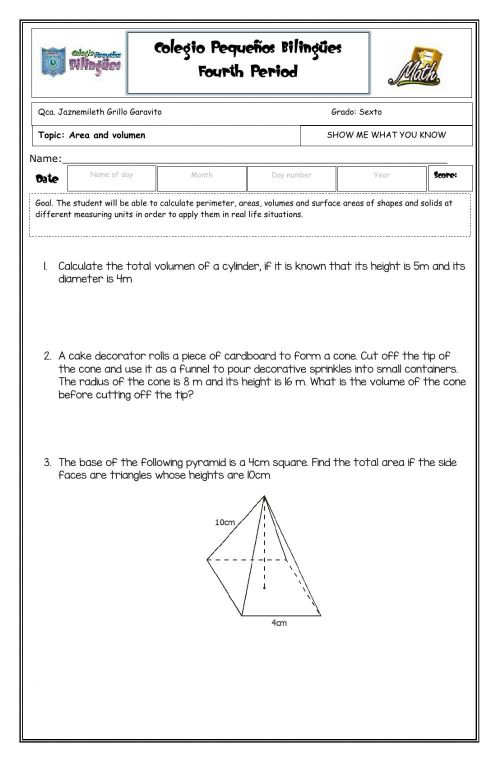 small resolution of Show me what you know - Volumen -sixth grade- fourth term -2020 worksheet