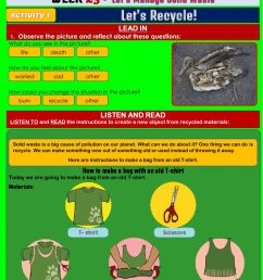 Let's Manage Solid Waste - Let's Recycle! worksheet [ 1413 x 1000 Pixel ]