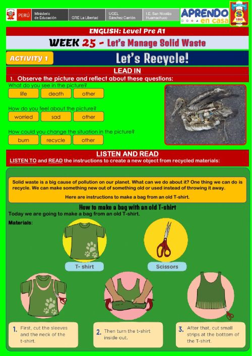 small resolution of Let's Manage Solid Waste - Let's Recycle! worksheet