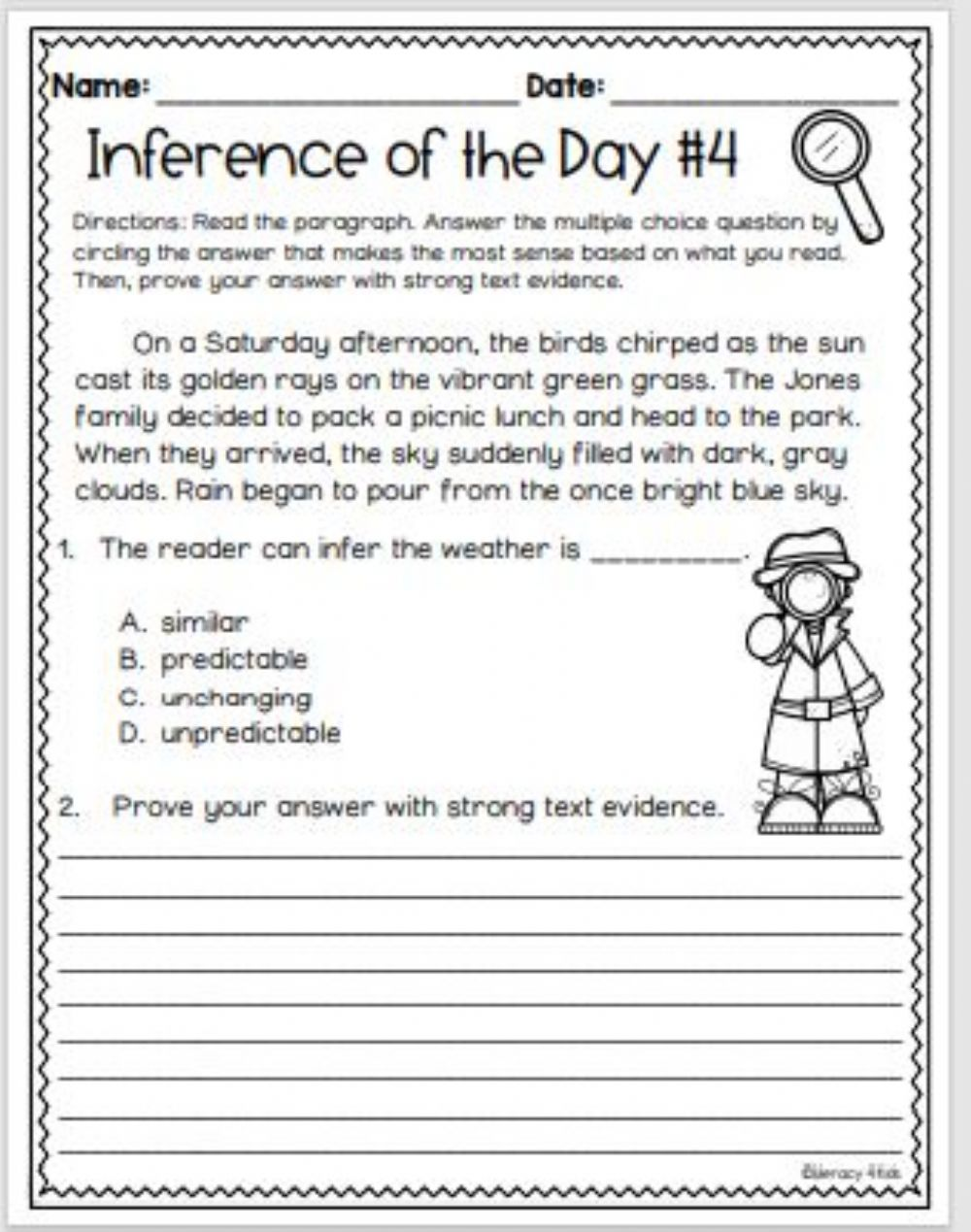 hight resolution of Inference with Text Evidence worksheet