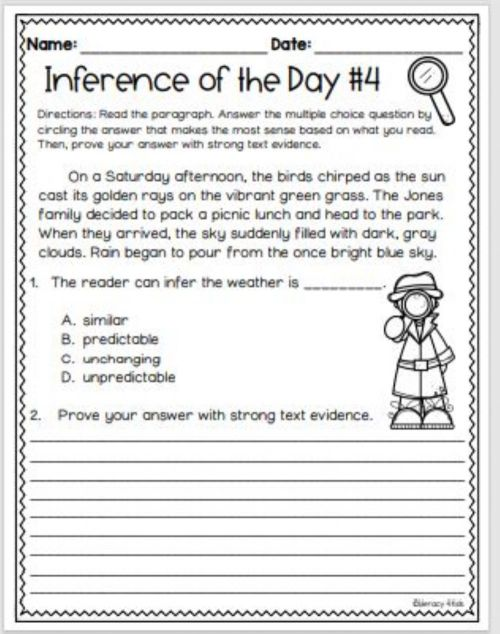 small resolution of Inference with Text Evidence worksheet