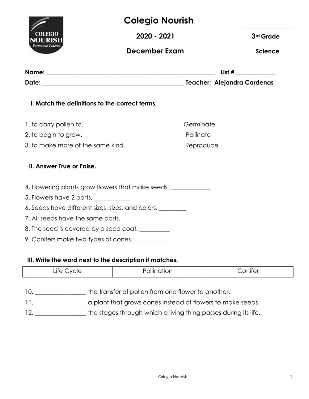 medium resolution of Science Exam Dec worksheet