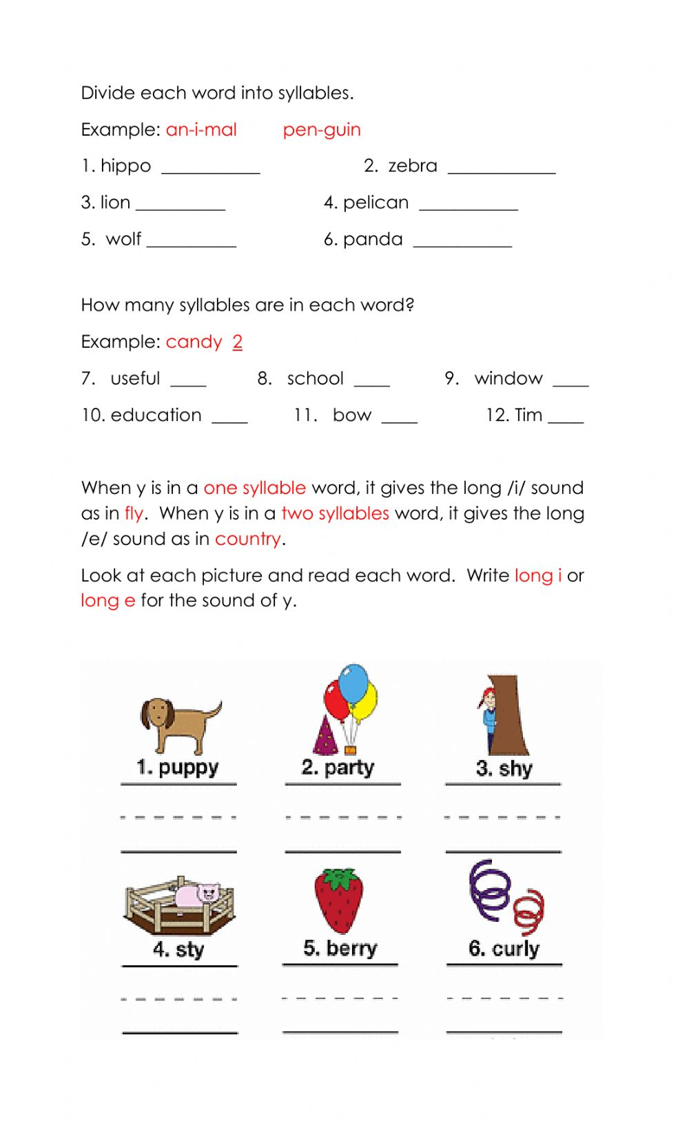 hight resolution of Syllables Examples Worksheet