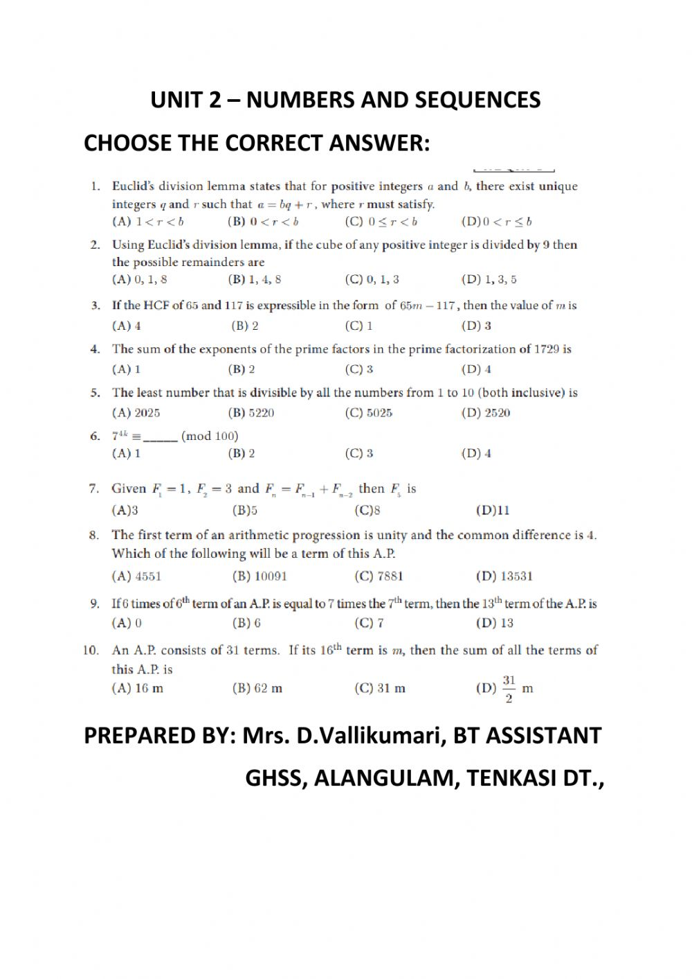 medium resolution of Unit 2- Numbers and sequences worksheet