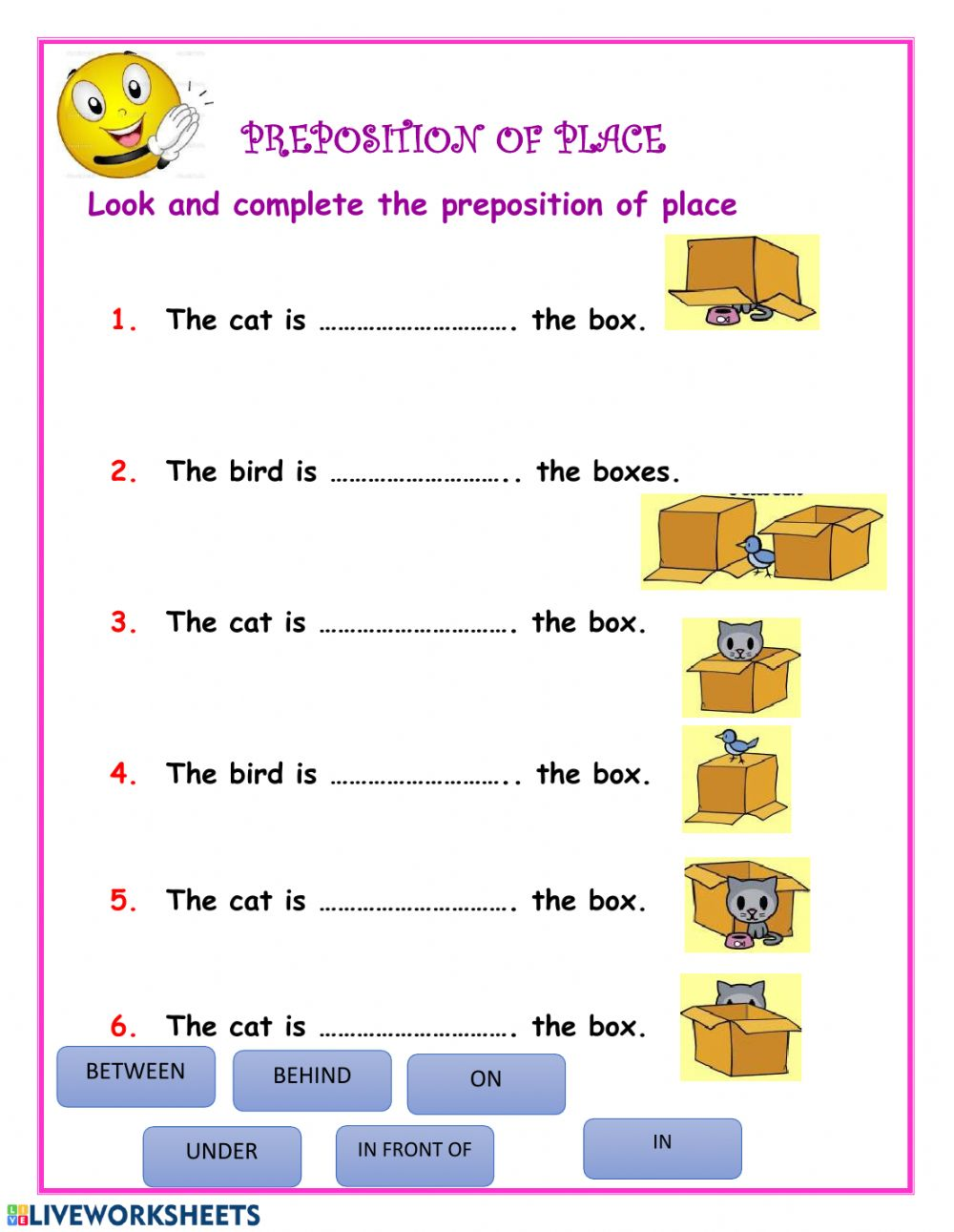 hight resolution of Prepositions online exercise for class VI