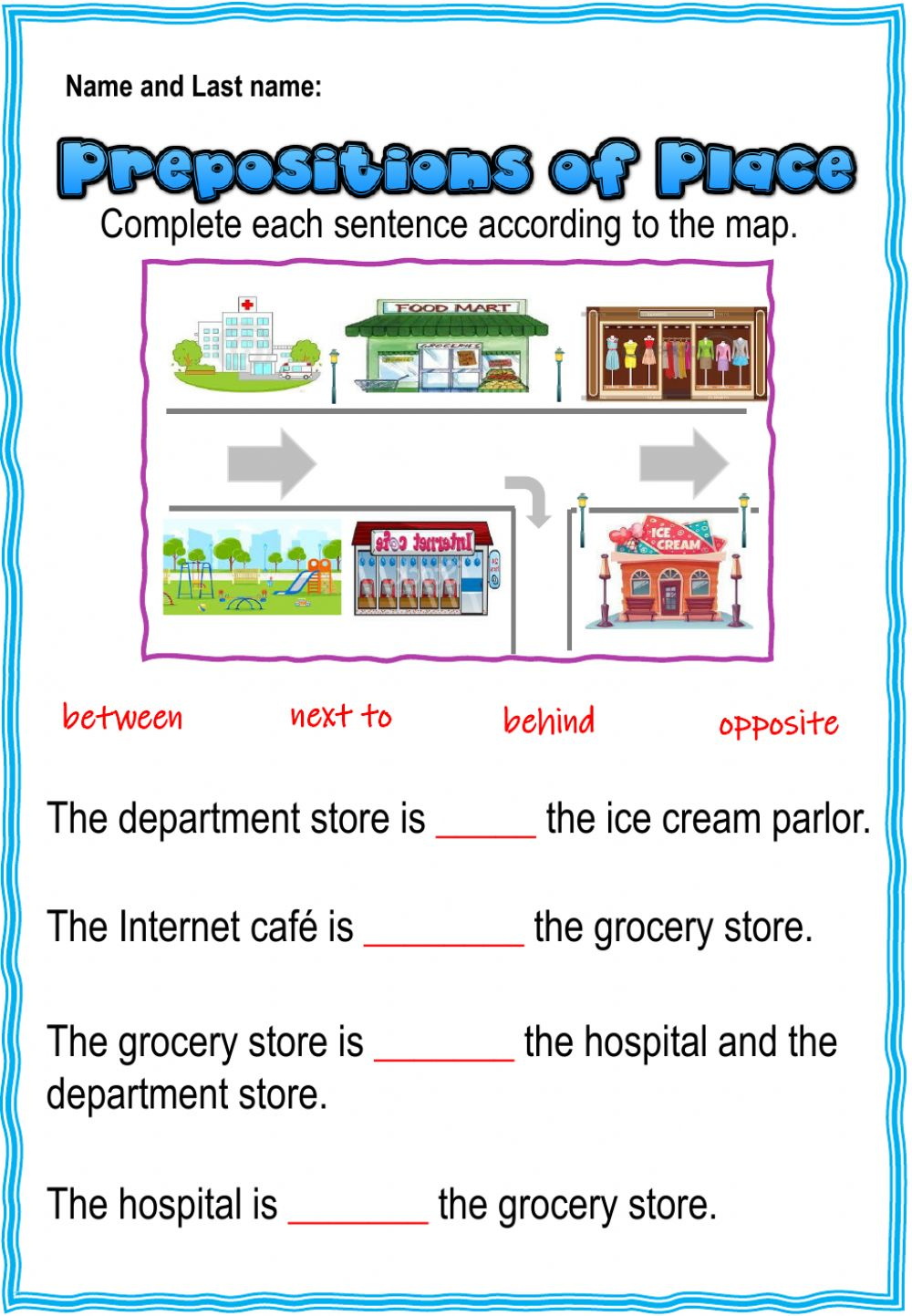 hight resolution of 3rd. grade. Grammar 4.1. Eval. Act. Prepositions worksheet