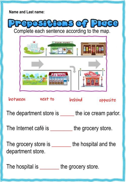 small resolution of 3rd. grade. Grammar 4.1. Eval. Act. Prepositions worksheet