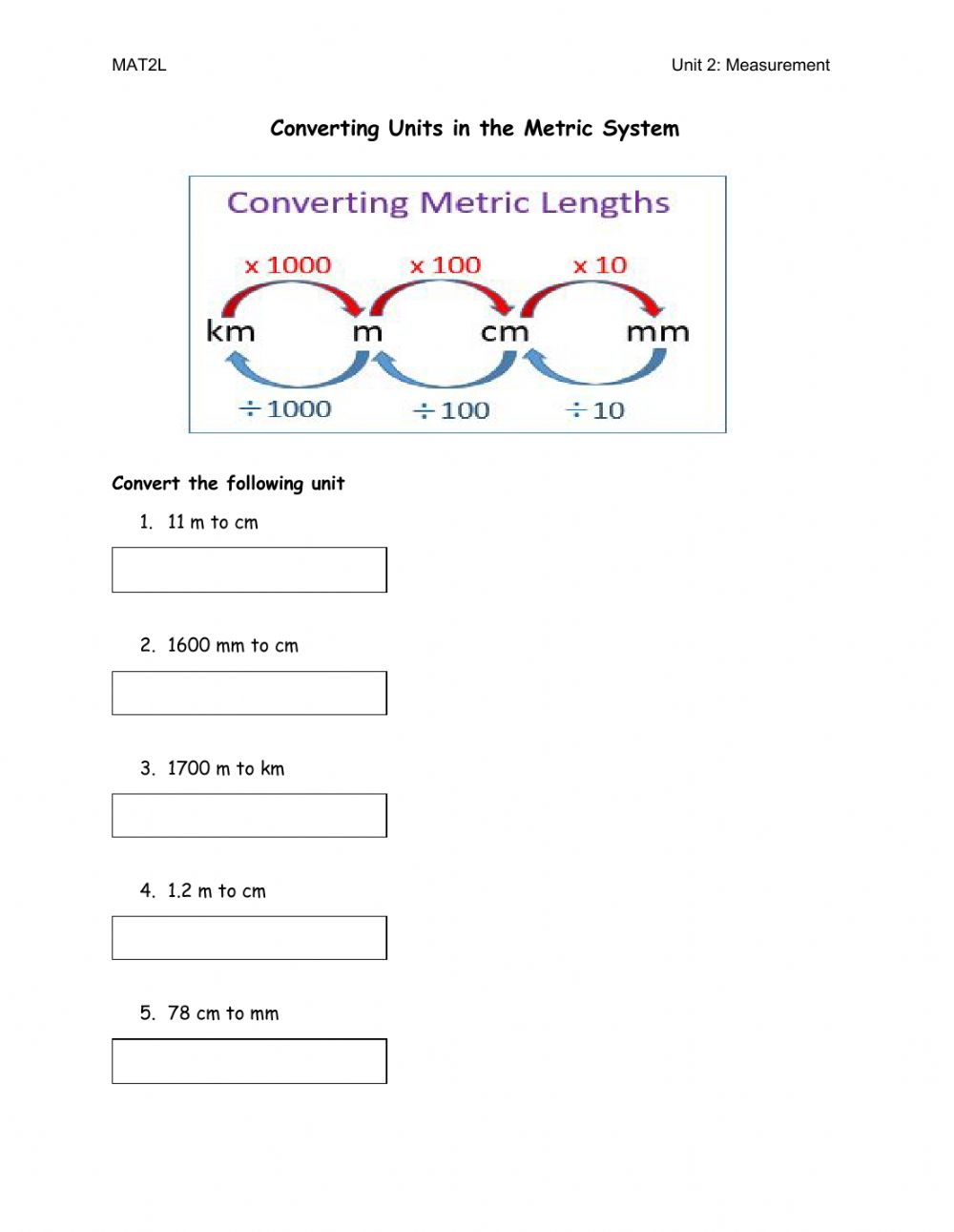 hight resolution of Converting Units worksheet