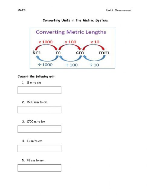 small resolution of Converting Units worksheet
