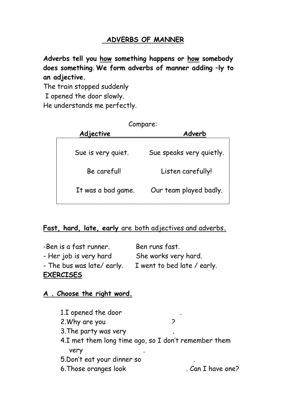 hight resolution of Adverbs of manner worksheet for Grade 3 Pre-intermediate