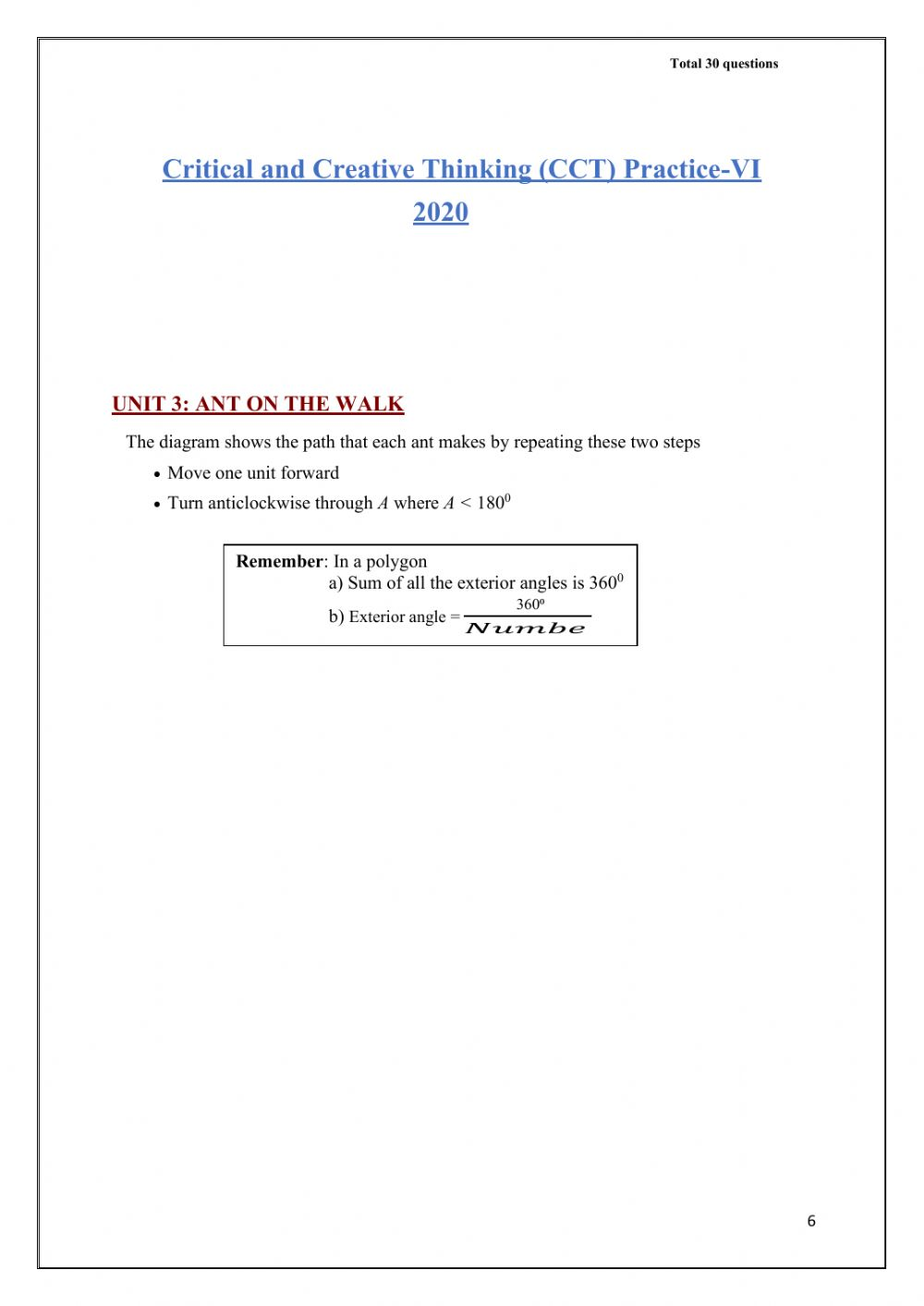 hight resolution of Cct 6 and 7 maths questions worksheet