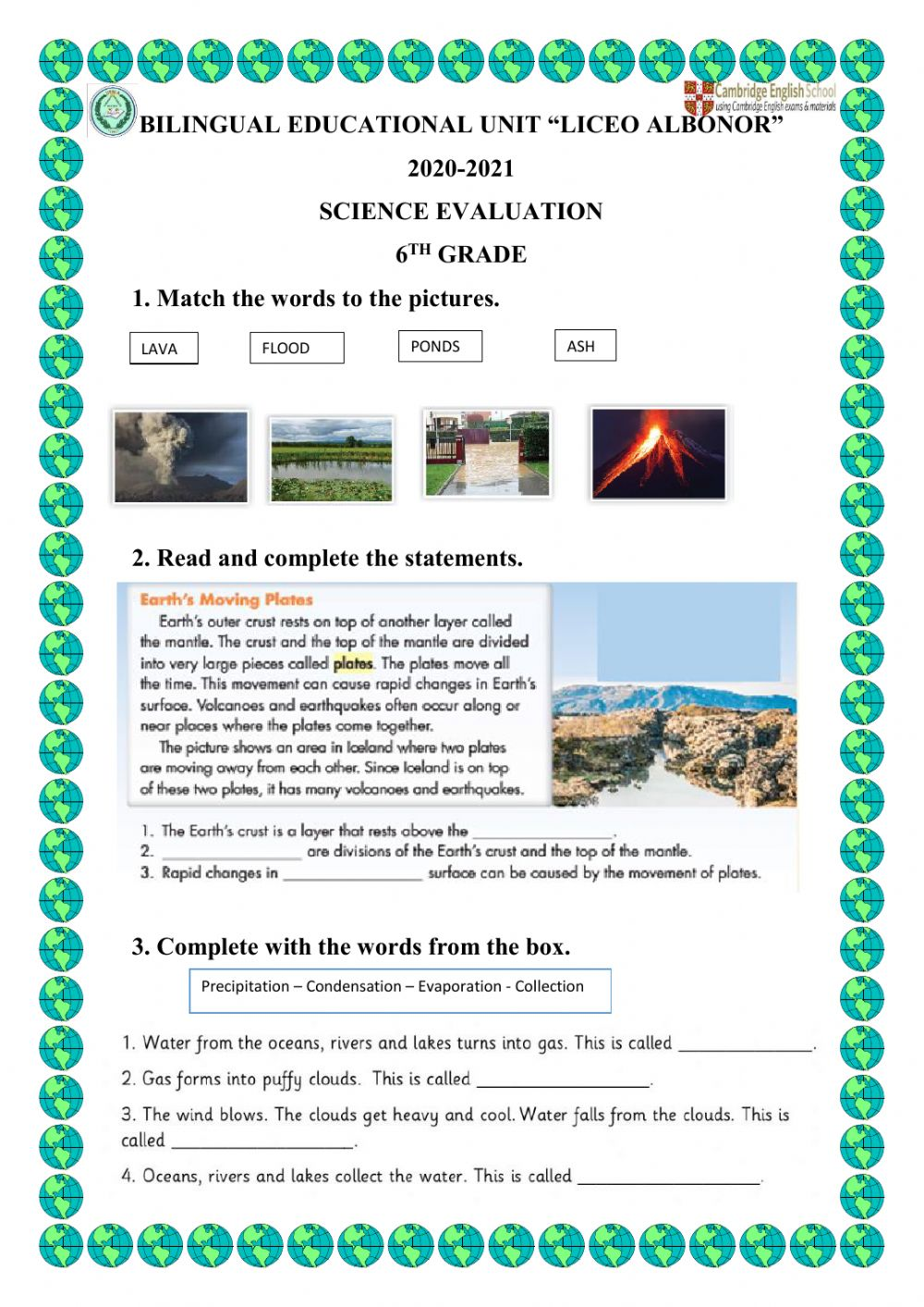hight resolution of Science online activity for 6TH GRADE