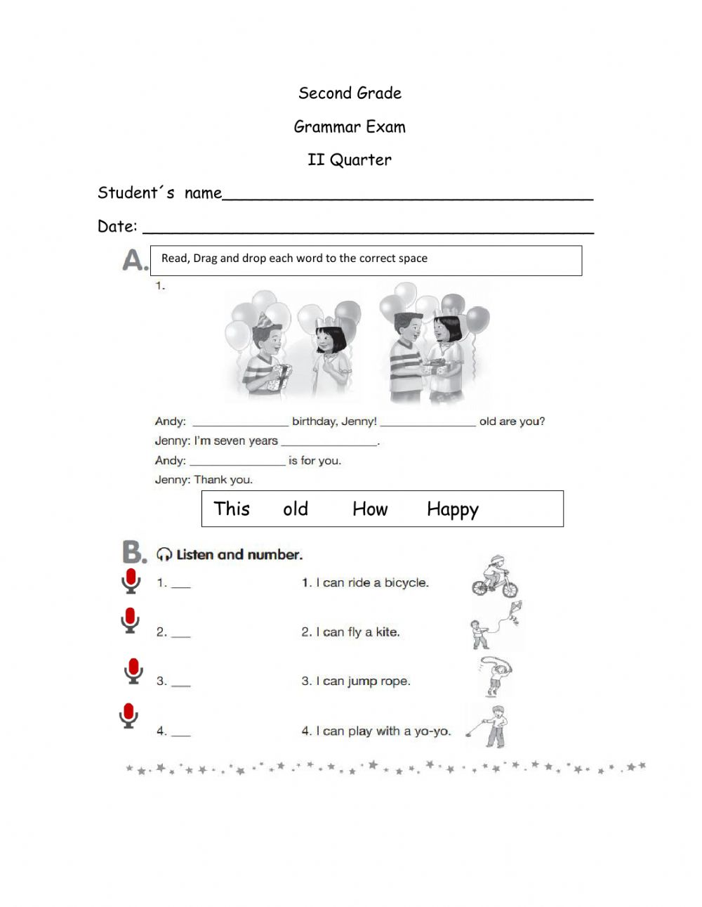 hight resolution of Grammar Test online pdf activity for 2nd grade