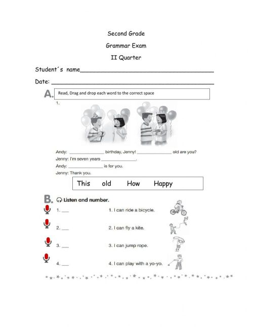 small resolution of Grammar Test online pdf activity for 2nd grade