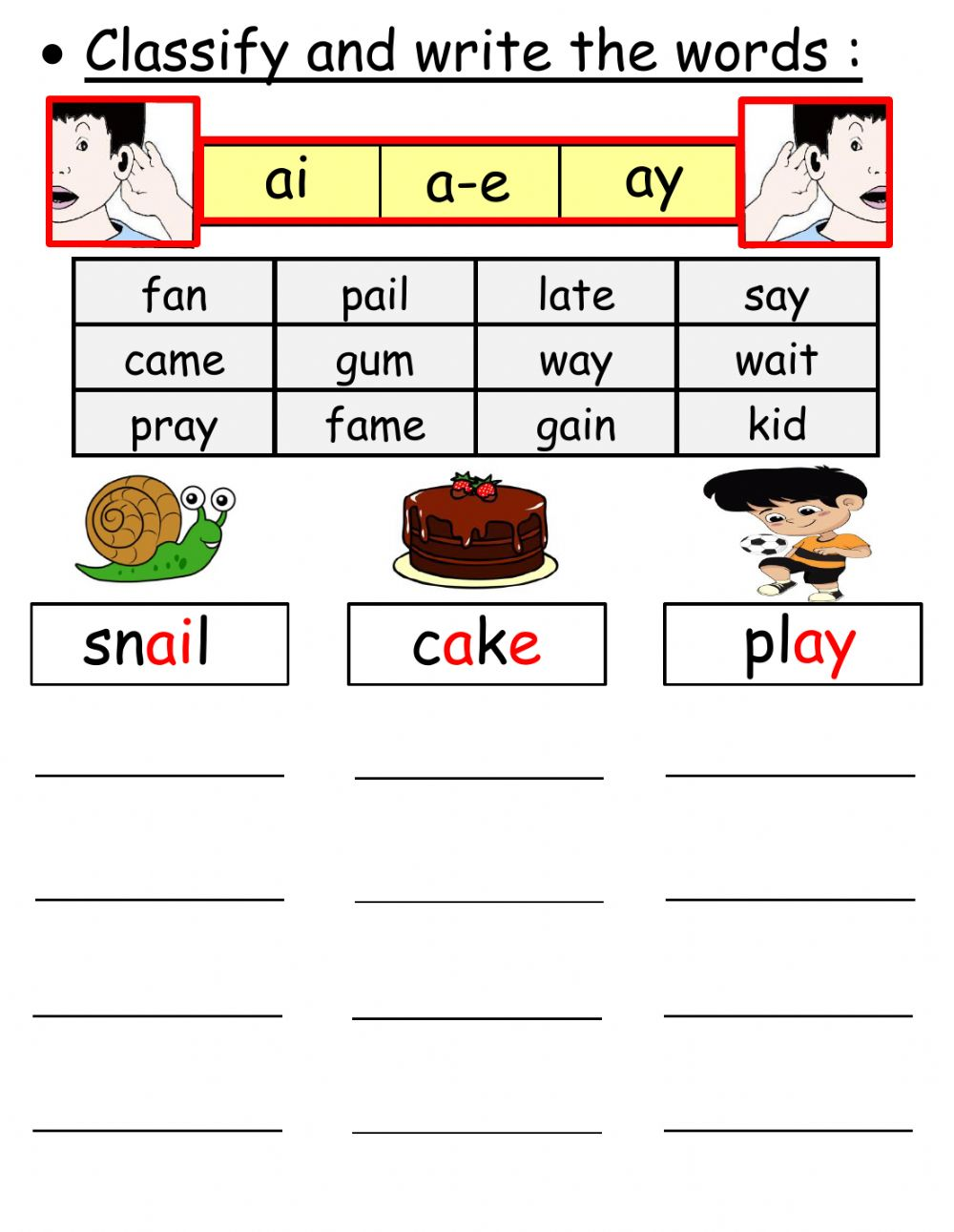 medium resolution of Classify the words (ai ay a-e) worksheet