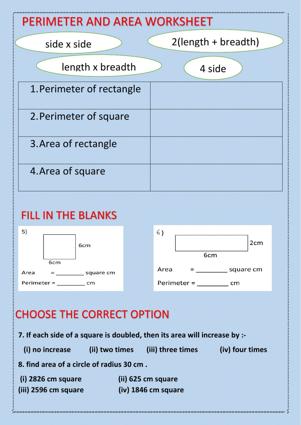 hight resolution of Perimeter and area exercise