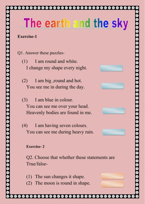 small resolution of The earth and the sky worksheet