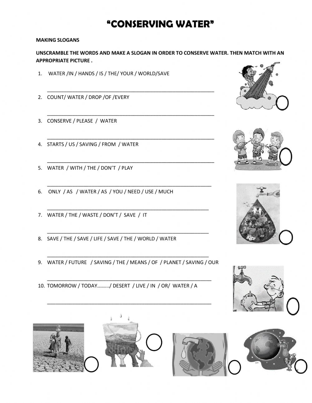 hight resolution of Water Conservation worksheet