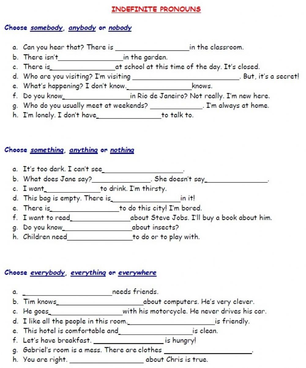 hight resolution of Indefinite pronouns online activity for Grade 5-6
