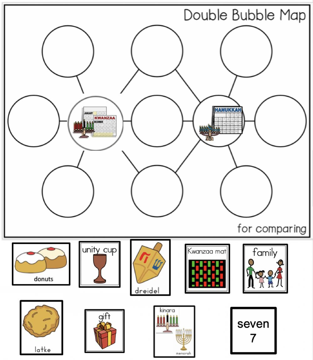 hight resolution of Holiday Double Bubble - Compare Hanukkah and Kwanzaa worksheet