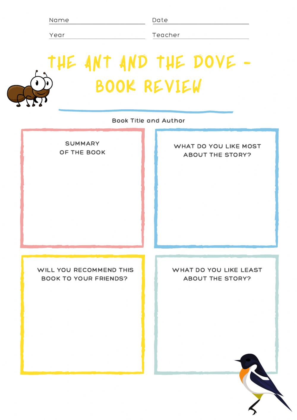 medium resolution of 02.12 - Book report! The ant and the dove worksheet