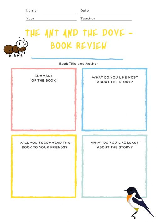 small resolution of 02.12 - Book report! The ant and the dove worksheet
