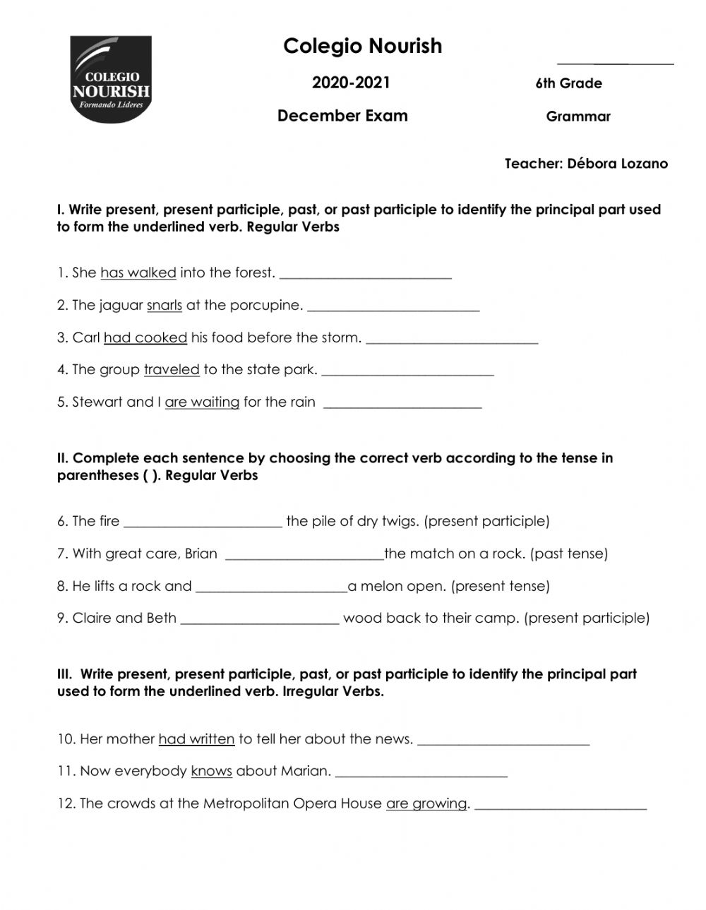 hight resolution of Grammar December Exam worksheet